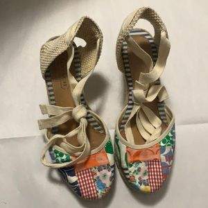 COACH KERRIE PATCHWORK ESPADRILLE WEDGE SIZE 8